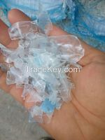 Transparent & light blue recycled PET flakes