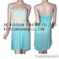 Garments Buyer For Smocked Back Spaghetti Strape Crochet DressWT130116
