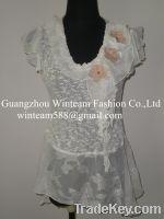 Lady's chiffon cap sleeve crewneck top pleated-collar blouse WT130112
