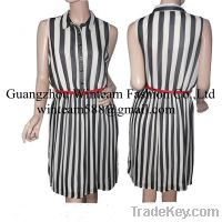 Lady Garment Sleeveless Vertical Line Belted Stripes Dress WT130114