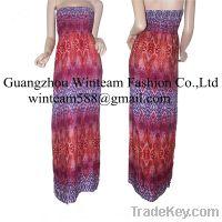 maxi dress lava print smocking women summer dress manufacturerWT130113