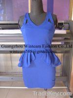 2014 lady sleeveless peplum fitted dress spaghetti strap dress