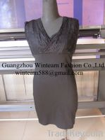 2014 lady bodycon dress v neck chest inset lace fitted summer dress