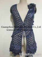 lady fashion wholesale elegant flower crochet kint ruffles hem vest