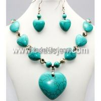 turquoise necklace sets, stone necklace sets, turquoise jewelry, natural stone jewelry, beaded necklace sets, china necklace