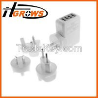 AC wall charger with 4 USB port and US/EU/UK/AU 4 changeable plugs.