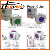Allocacoc Extended PowerCube Socket US Plug 5 Outlets Adapter - 125V 15A