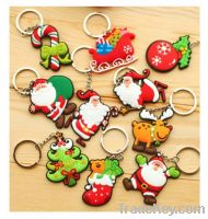Sell Eco Silicon Santa Clause Christmas deer tree design keychain prom