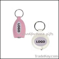 Sell pu leather key chain with led light printed logo