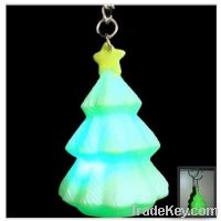 Sell led light flash touch christmas tree keychain promotion gift souv