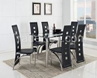 Modern Dining Sets One Glass Dining Table Match Six Dining Chairs