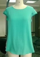 silk round neck  blouse solid color