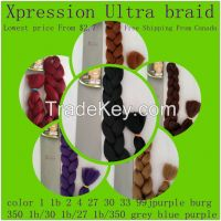 xpression braid hair color  black blonde grey blue brown purple red
