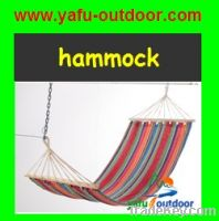 Polyester hammock with wooden bar