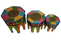 wooden brass painted octangal stool set of three