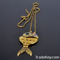 Fashion Antique Crystal Fish Pendant Long Chain Gold Jewelry