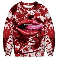 Men's Sweatshirt Funny Blood Clot 3D Print Crew Neck