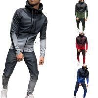EFLASHOR Mens Spring 2 Pcs Suit Set Sportwear Hoodie Jackets &Sweatpants Tracksuit Fashion Casual Gradient Print Joggers Suit