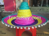 Competitive bamboo sombrero hat with pompom