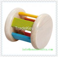 hr10000008 A great toy for infants.It's simple in design, yet fascinating to their young minds.By rolling the rattle around, theball inside makes a nice melody.Safe for infants-it's made with nontoxic Water based paint on beechwood.
