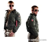 Alpha Industries 45P Leather Collar flight jacket Men's Navy jacket co