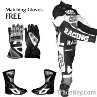 Grayish Black Leather Racing Motorcycle Suit with Shoes and Gloves