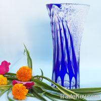 High quality Delicate Man Blown blue glass vase desktop  vase home dec