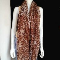 leopard printing voile scarf