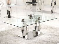 Luxury Glass Hotel Coffee Table with glass counter top(CJ-8140)