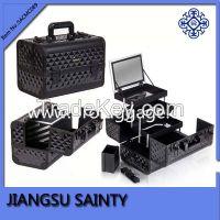 Diamond ABS surface hard metal makeup carrying case