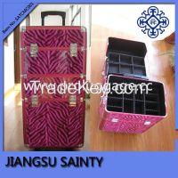 Pink color zebra pattern PU professional rolling makeup train case