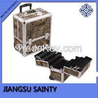 Hot leopard pattern large pro rolling makeup case