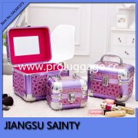 Purple color shining stone pattern leather makeup box