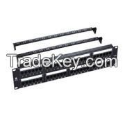 Cat.6 UTP Patch Panel, 48 Port, Dual use IDC, With Back Bar