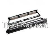 Cat.6 UTP Patch Panel, 24 Port, 110 or LSA IDC, with Back Bar