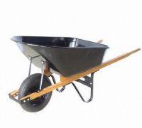 Wooden handles steel tray  wheel barrow