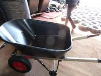 Plastic tray  four wheels  Wheelbarrow