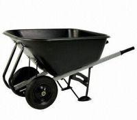 Twin-wheel Wooden HandlesPP Plastic Tray Wheelbarrow