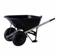 Twin wheels  wooden handle   Wheel barrow