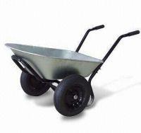 Twin wheel steel tray wheel barrow