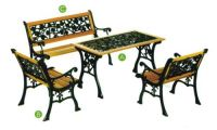 garden table chair cast iron wood