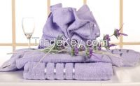 Satin purple Cotton Towel