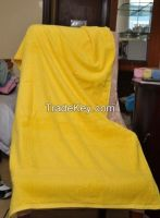 yellow cotton bath towel