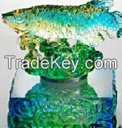 Art Glass Crafts/ colored glaze/Liu li Factory outlets/Feng shui Golden Fish