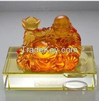 art glass crafts car crystal decorations liu li buddha