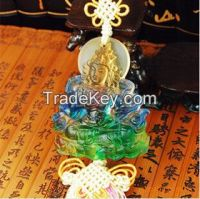 liu li car crystal ornaments------colered glaze green tara