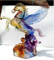 liu li manufacturer crystal colored glaze flying horse craft for hotel bank decoration