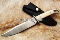 Damascus Hunting Knife with bone handle and free Shipping World Wide