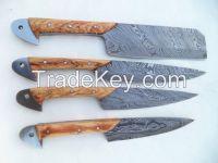 Custom Handmade Damascus Steel Kitchen Set of 4 Knives