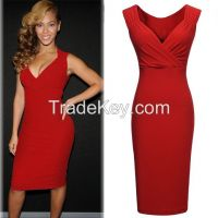 Celeb Style Sexy V-neck Wedding Party 2014 Women high fashion bodycon dress